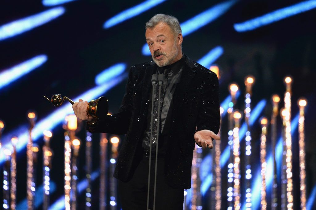 LONDON, ENGLAND - JANUARY 25:  Graham Norton on stage with the Special Recognition Award during the National Television Awards at The O2 Arena on January 25, 2017 in London, England.  (Photo by Jeff Spicer/Getty Images)