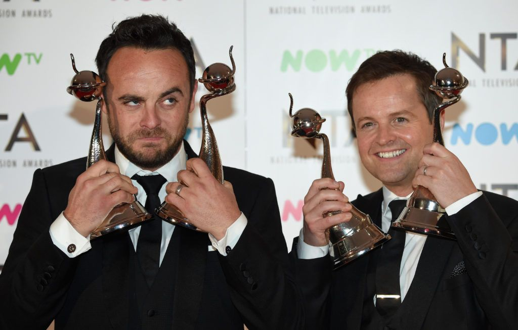 LONDON, ENGLAND - JANUARY 25:  Ant and Dec with their awards in the winners room at the National Television Awards at The O2 Arena on January 25, 2017 in London, England.  (Photo by Anthony Harvey/Getty Images)