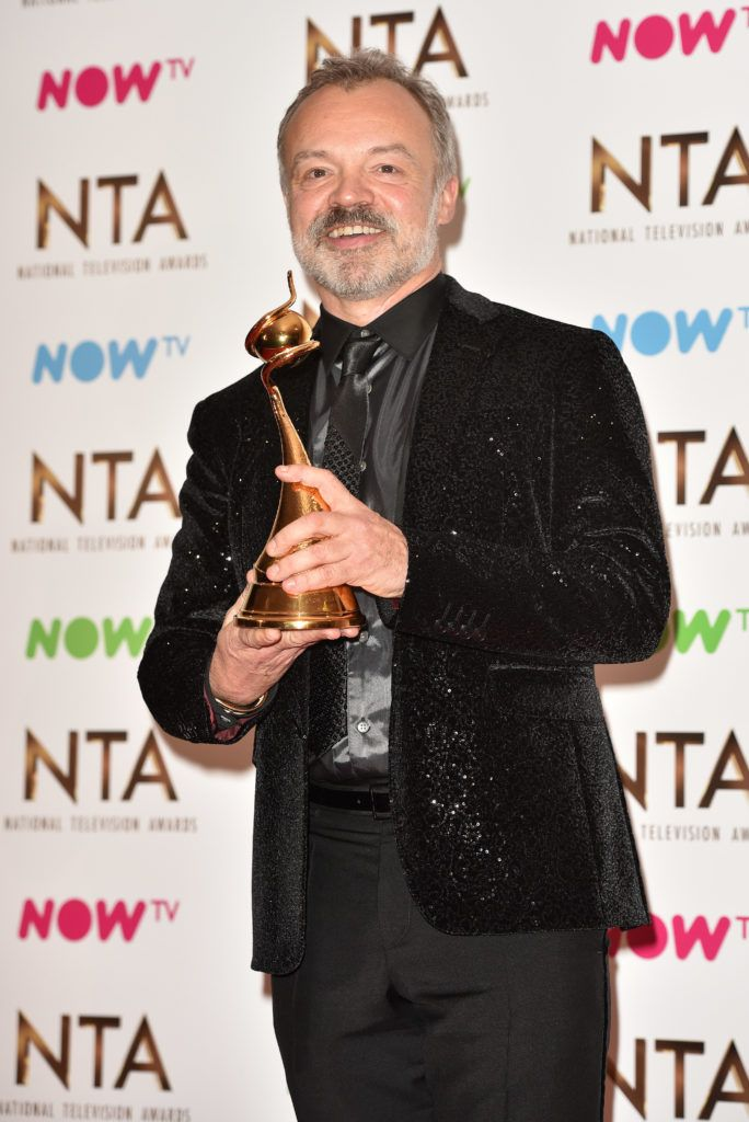 The 2017 National Television Awards held at the O2 - winners' board.  Featuring: Graham Norton Where: London, United Kingdom When: 25 Jan 2017 Credit: Daniel Deme/WENN.com