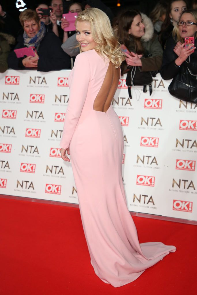 The National Television Awards 2017 (NTA's) held at the O2 Arena - Arrivals  Featuring: Holly Willoughby, pale pink dress, backless dress Where: London, United Kingdom When: 25 Jan 2017 Credit: Lia Toby/WENN.com