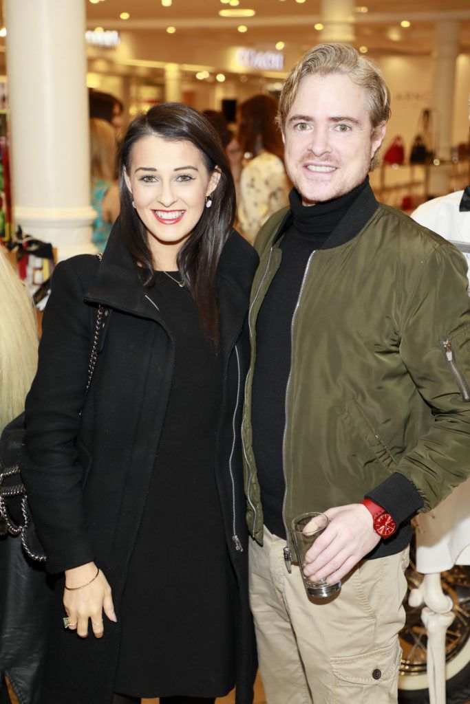 Ali McKeever and PJ Gibbons at the launch of Arnotts Spring Summer 2017 womenswear collections in the Accessories Hall at Arnotts -photo Kieran Harnett
