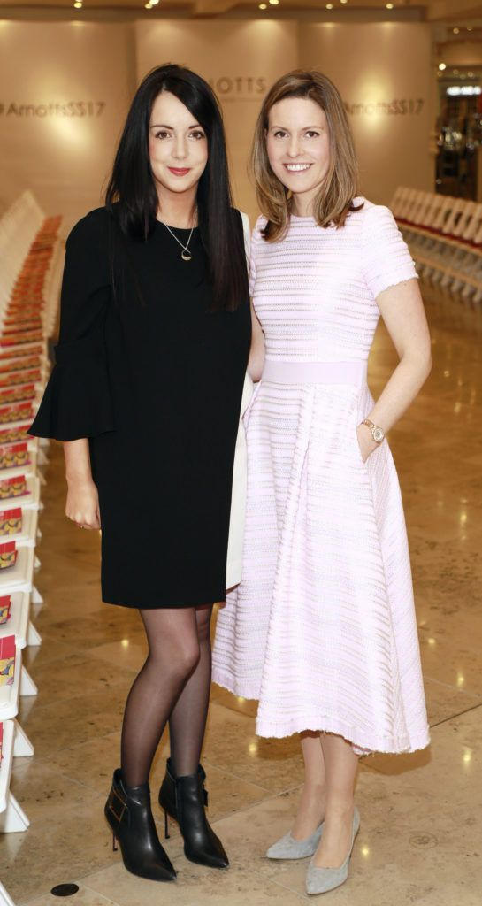 Laura Toner and Sarah Williams at the launch of Arnotts Spring Summer 2017 womenswear collections in the Accessories Hall at Arnotts -photo Kieran Harnett
