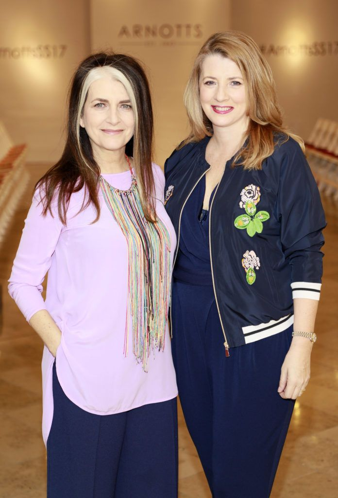 Cathy O'Connor and Clara Halpin at the launch of Arnotts Spring Summer 2017 womenswear collections in the Accessories Hall at Arnotts -photo Kieran Harnett