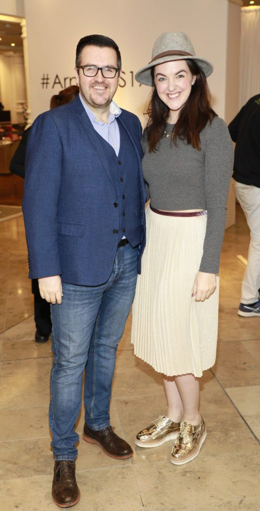 Clyde Carroll and Jess Glynn at the launch of Arnotts Spring Summer 2017 womenswear collections in the Accessories Hall at Arnotts -photo Kieran Harnett