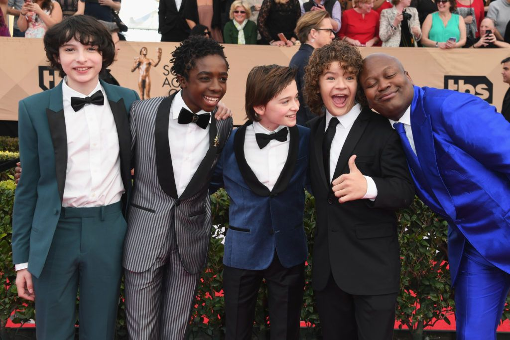 LOS ANGELES, CA - JANUARY 29:  (L-R) Actors Finn Wolfhard, Caleb McLaughlin, Noah Schnapp, Gaten Matarazzo and Tituss Burgess attends the 23rd Annual Screen Actors Guild Awards at The Shrine Expo Hall on January 29, 2017 in Los Angeles, California.  (Photo by Alberto E. Rodriguez/Getty Images)