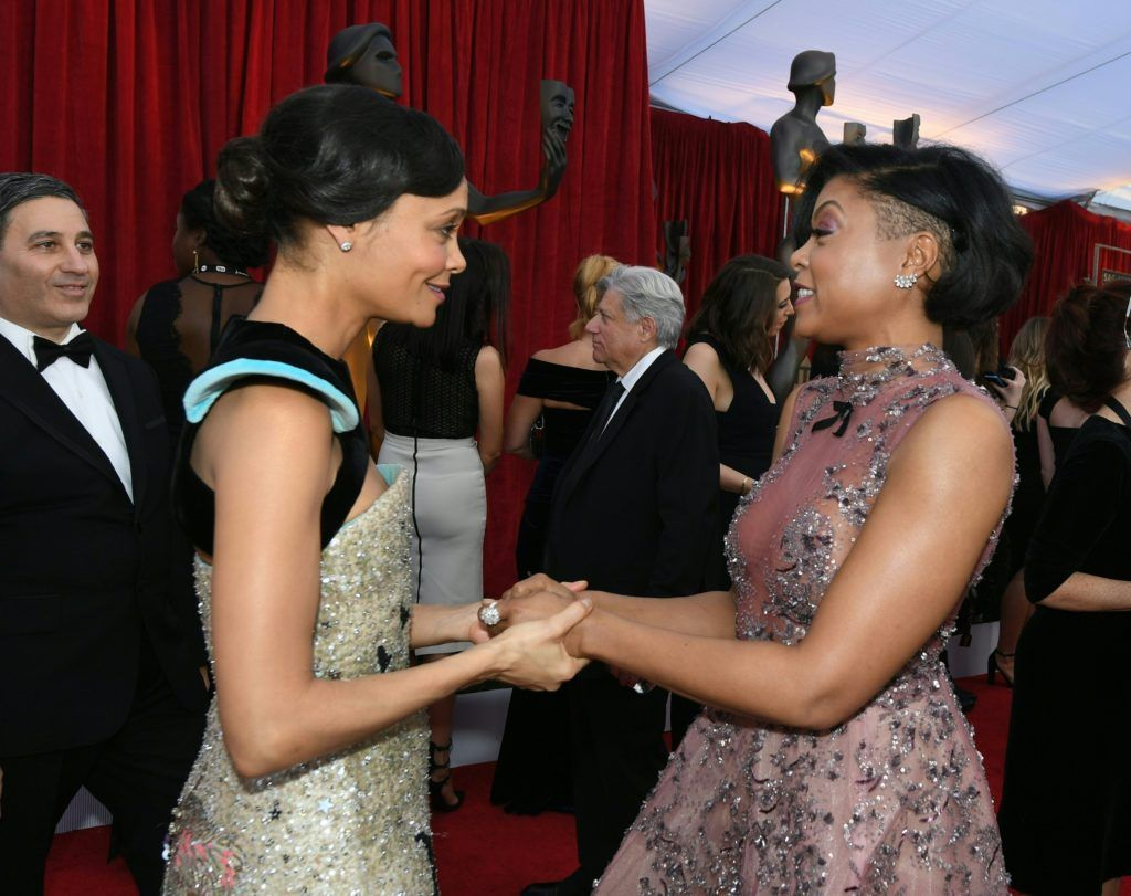 Thandie Newton (L) and Taraji P. Henson embrace at the 23rd Annual Screen Actors Guild Awards at The Shrine Auditorium on January 29, 2017 in Los Angeles, California.     (Photo MARK RALSTON/AFP/Getty Images)