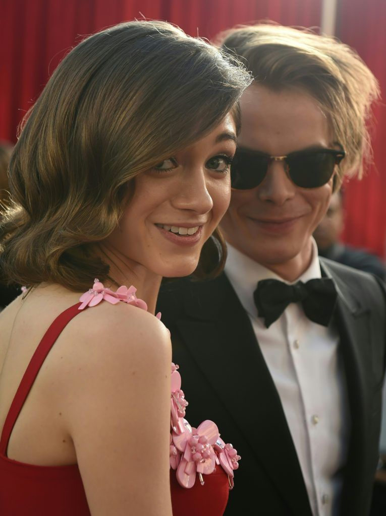 Actress Natalia Dyer (L) and Actor Charlie Heaton arrive for the 23rd Annual Screen Actors Guild Awards at the Shrine Exposition Center on January 29, 2017, in Los Angeles, California. (Photo  ROBYN BECK/AFP/Getty Images)