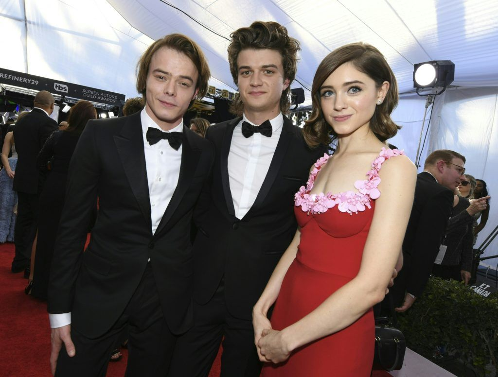 Charlie Heaton, Natalia Dyer and Joe Keery pose at the 23rd Annual Screen Actors Guild Awards at The Shrine Auditorium on January 29, 2017 in Los Angeles, California.  (Photo  MARK RALSTON/AFP/Getty Images)