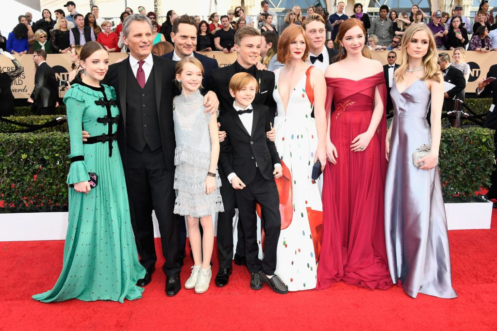 LOS ANGELES, CA - JANUARY 29: (L-R) Actors Samantha Isler, Charlie Shotwell, Viggo Mortensen, Matt Ross, Shree Crooks, Nicholas Hamilton, Trin Miller, George MacKay, Annalise Basso and Erin Moriarty attend The 23rd Annual Screen Actors Guild Awards at The Shrine Auditorium on January 29, 2017 in Los Angeles, California. 26592_008  (Photo by Frazer Harrison/Getty Images)