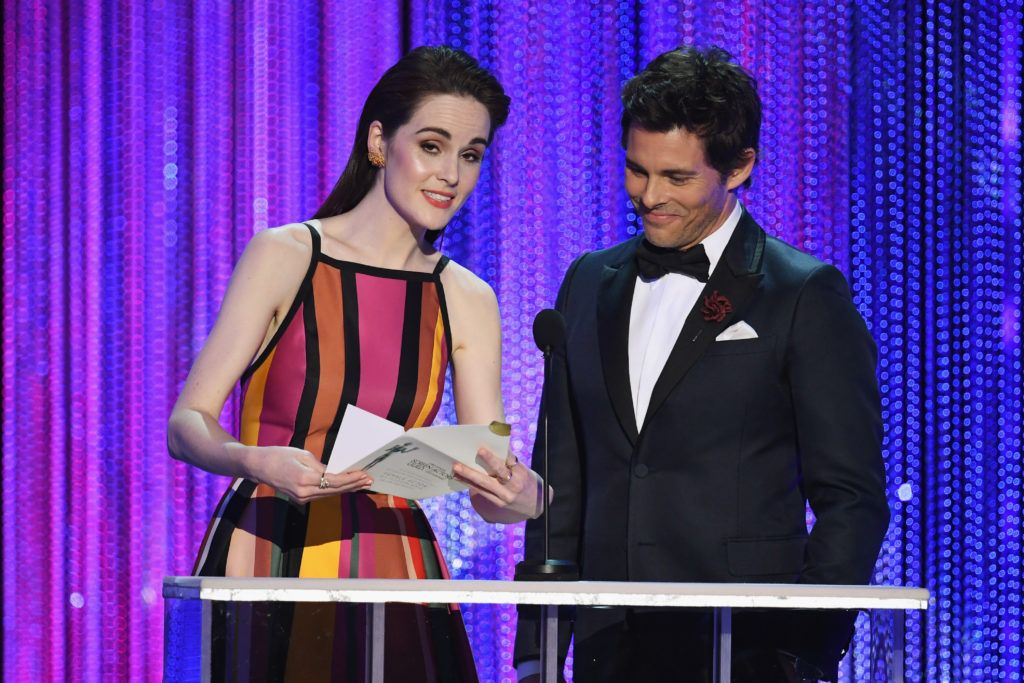 LOS ANGELES, CA - JANUARY 29:  Actors Michelle Dockery and James Marsden speak onstage during The 23rd Annual Screen Actors Guild Awards at The Shrine Auditorium on January 29, 2017 in Los Angeles, California. 26592_014  (Photo by Kevin Winter/Getty Images )