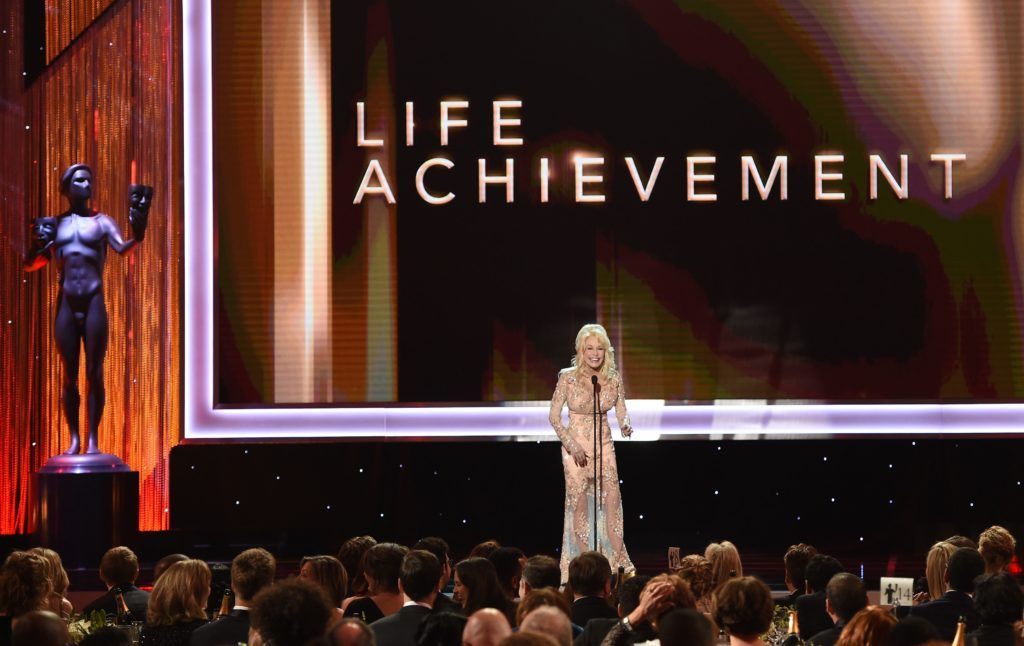 Dolly Parton speaks onstage during the 23rd Annual Screen Actors Guild Awards show at The Shrine Auditorium on January 29, 2017 in Los Angeles, California. (Photo ROBYN BECK/AFP/Getty Images)