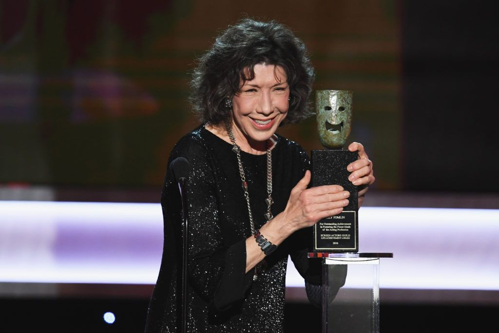 LOS ANGELES, CA - JANUARY 29:  Actor Lily Tomlin accepts the 2016 SAG Life Achievement Award onstage during The 23rd Annual Screen Actors Guild Awards at The Shrine Auditorium on January 29, 2017 in Los Angeles, California. 26592_014  (Photo by Kevin Winter/Getty Images )