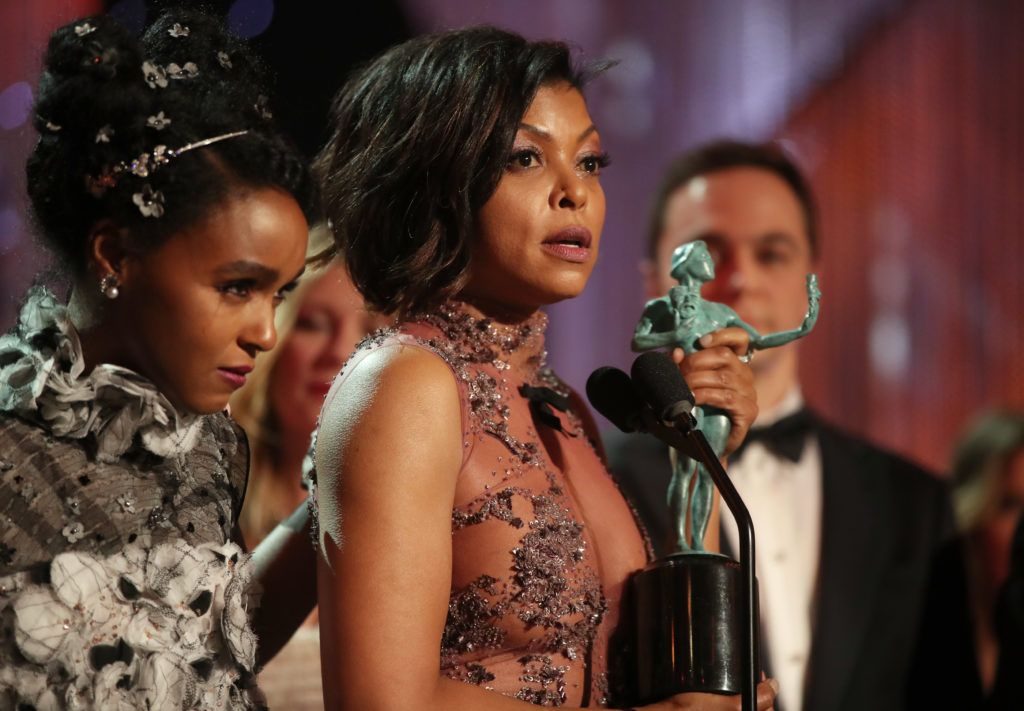 LOS ANGELES, CA - JANUARY 29: Actress Taraji P. Henson, accepting the award for Cast in a Motion Picture, during The 23rd Annual Screen Actors Guild Awards at The Shrine Auditorium on January 29, 2017 in Los Angeles, California. 26592_012  (Photo by Christopher Polk/Getty Images for TNT)