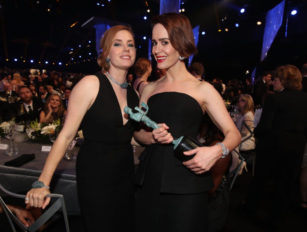 LOS ANGELES, CA - JANUARY 29:  Actors Amy Adams and Sarah Paulson, winner of the award for Female Actor in a Television Movie or Limited Series, during The 23rd Annual Screen Actors Guild Awards at The Shrine Auditorium on January 29, 2017 in Los Angeles, California. 26592_012  (Photo by Christopher Polk/Getty Images for TNT)