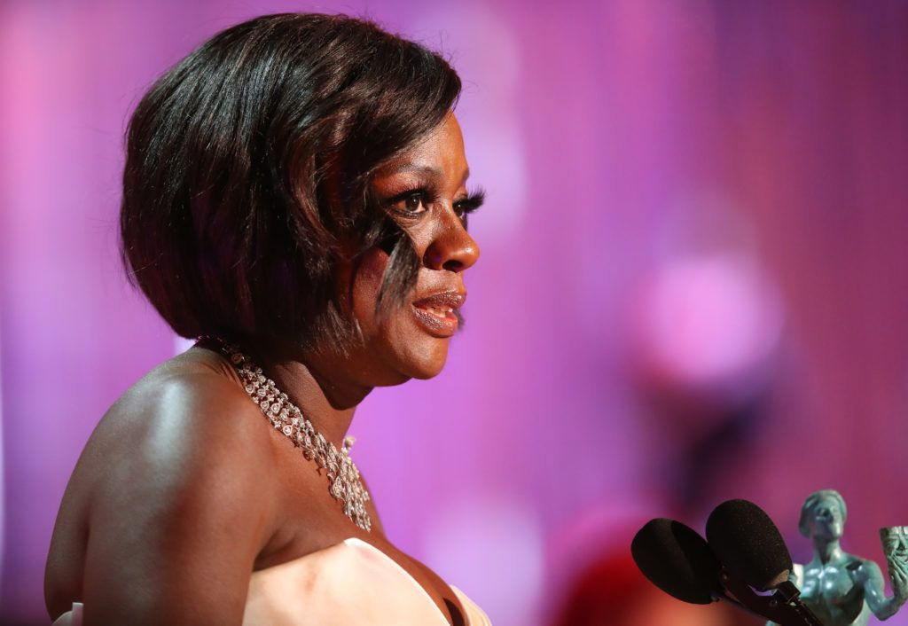 LOS ANGELES, CA - JANUARY 29: Actor Viola Davis, accepting the award for Female Actor in a Supporting Role,  during The 23rd Annual Screen Actors Guild Awards at The Shrine Auditorium on January 29, 2017 in Los Angeles, California. 26592_012  (Photo by Christopher Polk/Getty Images for TNT)