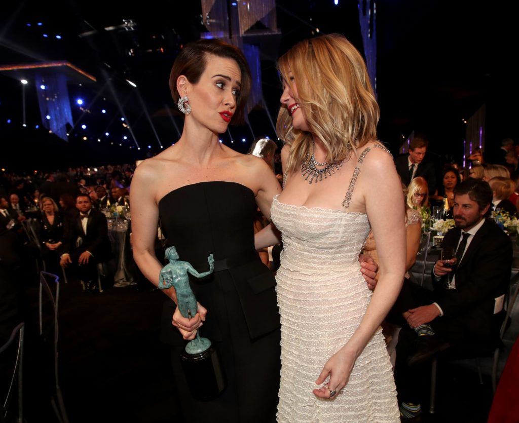 LOS ANGELES, CA - JANUARY 29: Actors Sarah Paulson, winner of the award for Female Actor in a Television Movie or Limited Series, and Kirsten Dunst during The 23rd Annual Screen Actors Guild Awards at The Shrine Auditorium on January 29, 2017 in Los Angeles, California. 26592_012  (Photo by Christopher Polk/Getty Images for TNT)