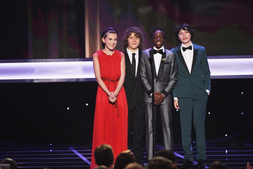 LOS ANGELES, CA - JANUARY 29:  (L-R) Actors Millie Bobby Brown, Gaten Matarazzo, Caleb McLaughlin, and Finn Wolfhard speak onstage during The 23rd Annual Screen Actors Guild Awards at The Shrine Auditorium on January 29, 2017 in Los Angeles, California. 26592_014  (Photo by Kevin Winter/Getty Images )