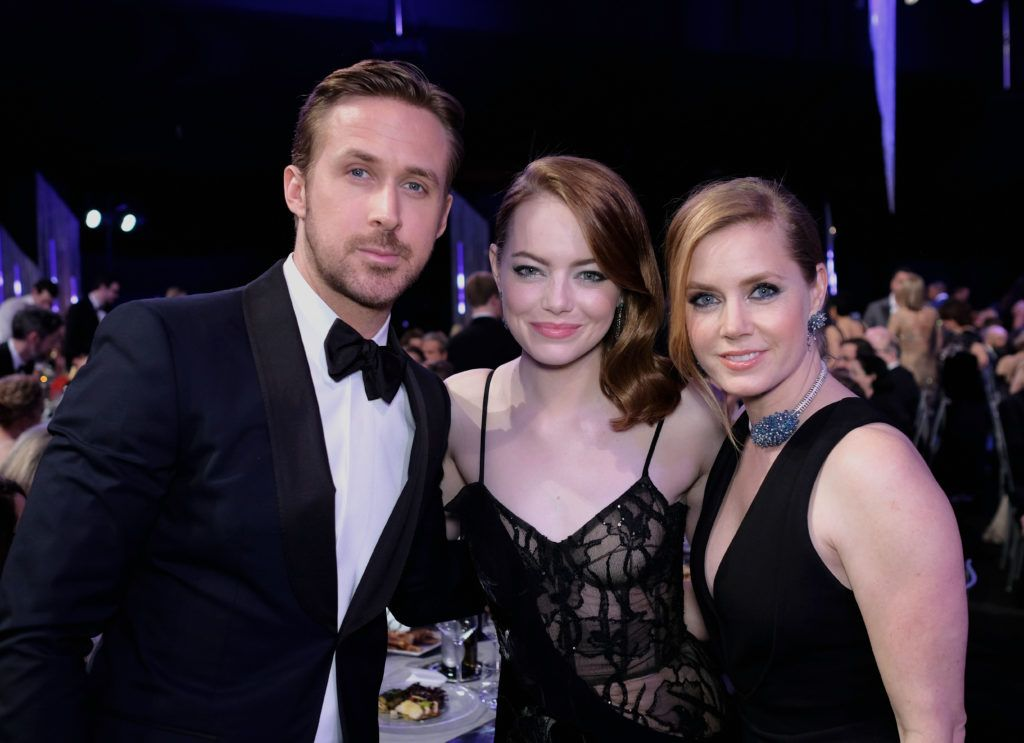 LOS ANGELES, CA - JANUARY 29:  (L-R) Actors Ryan Gosling, Emma Stone and Amy Adams pose during The 23rd Annual Screen Actors Guild Awards at The Shrine Auditorium on January 29, 2017 in Los Angeles, California. 26592_009  (Photo by Dimitrios Kambouris/Getty Images for TNT)