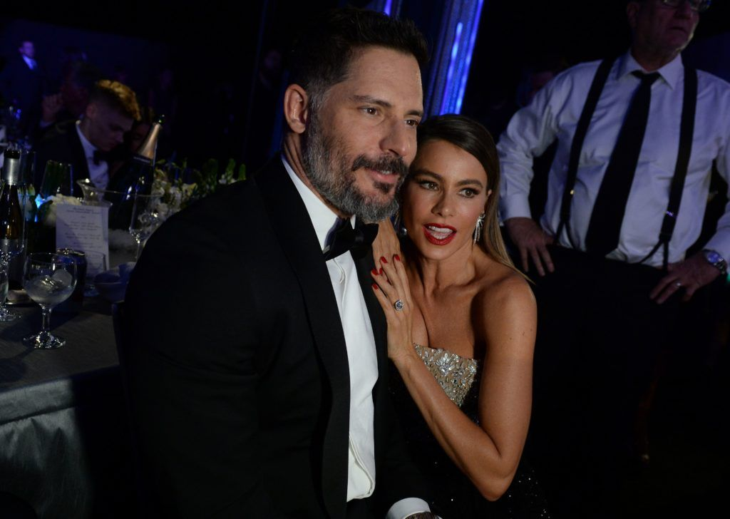 Actress Sofia Vergara (R) and Joe Manganiello share a moment during the 23rd Annual Screen Actors Guild Awards show at The Shrine Auditorium on January 29, 2017 in Los Angeles, California. (Photo ROBYN BECK/AFP/Getty Images)