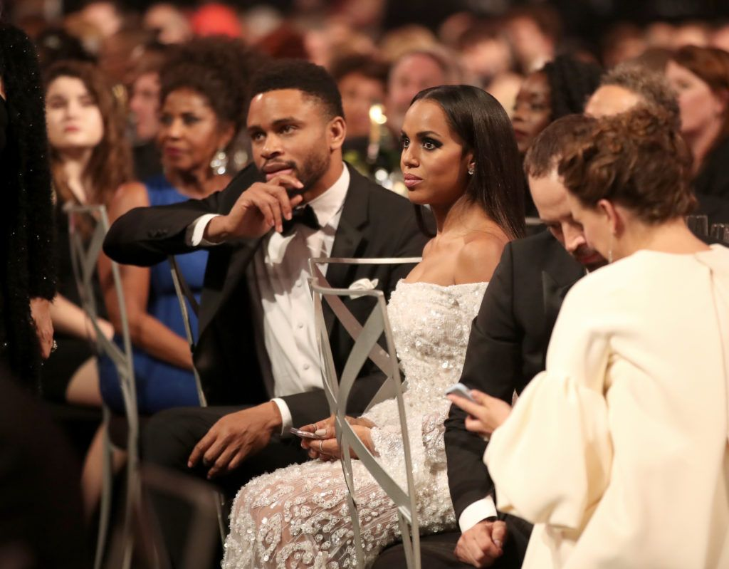 LOS ANGELES, CA - JANUARY 29: Actors Nnamdi Asomugha and Kerry Washington during The 23rd Annual Screen Actors Guild Awards at The Shrine Auditorium on January 29, 2017 in Los Angeles, California. 26592_012  (Photo by Christopher Polk/Getty Images for TNT)