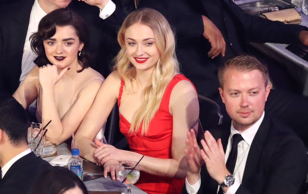 LOS ANGELES, CA - JANUARY 29:  Actors Maisie Williams and Sophie Turner during The 23rd Annual Screen Actors Guild Awards at The Shrine Auditorium on January 29, 2017 in Los Angeles, California. 26592_021  (Photo by Richard Heathcote/Getty Images for TNT)