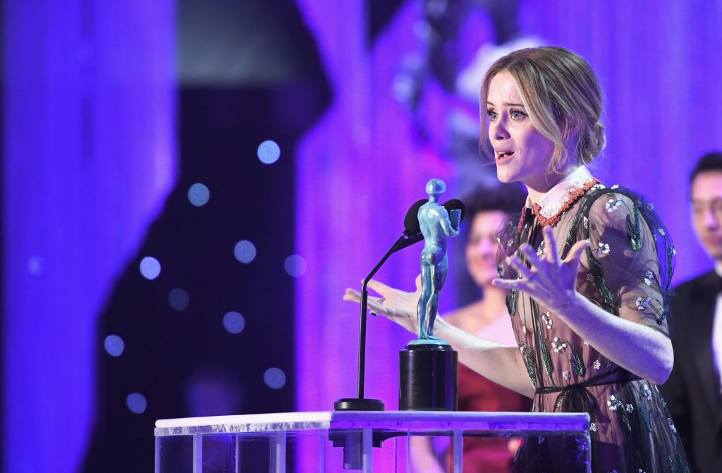 """LOS ANGELES, CA - JANUARY 29:  Actor Claire Foy accepts the award for """"A Female Actor in a Drama Series"""" onstage during The 23rd Annual Screen Actors Guild Awards at The Shrine Auditorium on January 29, 2017 in Los Angeles, California. 26592_009  (Photo by Dimitrios Kambouris/Getty Images for TNT)"""