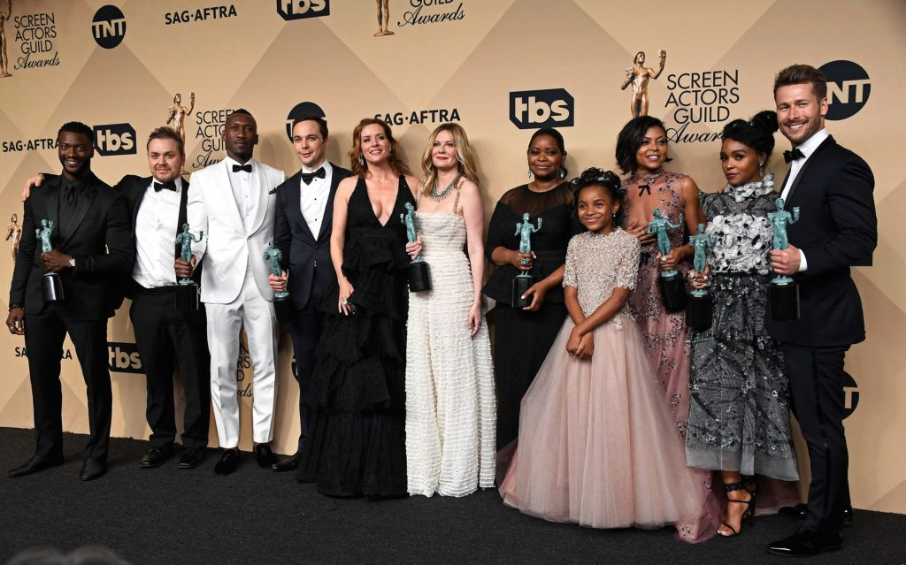 LOS ANGELES, CA - JANUARY 29:  (L-R) Actor Aldis Hodge, filmmaker Theodore Melfi, actors  Mahershala Ali, Jim Parsons, Kimberly Quinn, Kirsten Dunst, Octavia Spencer, Saniyya Sidney  Taraji P. Henson, Janelle Monae, and Glen Powell, co-recipients of the Outstanding Performance by a Cast in a Motion Picture award for 'Hidden Figures,' pose in the press room during The 23rd Annual Screen Actors Guild Awards at The Shrine Auditorium on January 29, 2017 in Los Angeles, California. 26592_008  (Photo by Frazer Harrison/Getty Images)