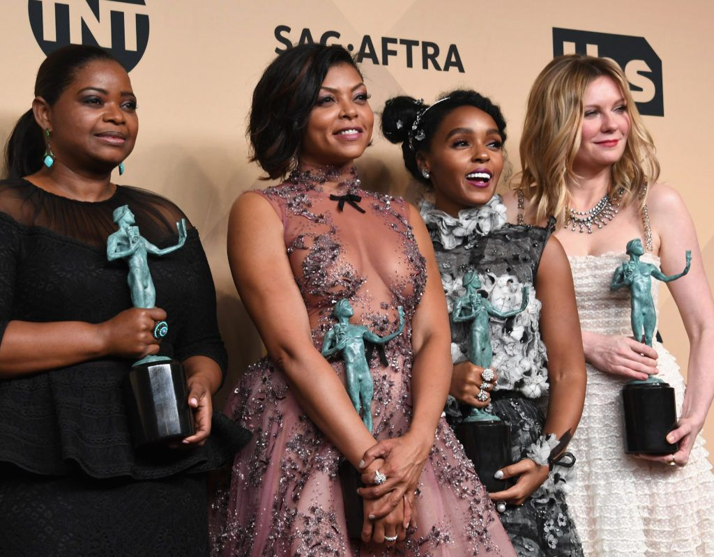LOS ANGELES, CA - JANUARY 29:  (L-R) Actors Octavia Spencer, Taraji P. Henson, Janelle Monae and Kirsten Dunst, co-recipients of the Outstanding Performance by a Cast in a Motion Picture award for 'Hidden Figures,' pose in the press room during the 23rd Annual Screen Actors Guild Awards at The Shrine Expo Hall on January 29, 2017 in Los Angeles, California.  (Photo by Alberto E. Rodriguez/Getty Images)
