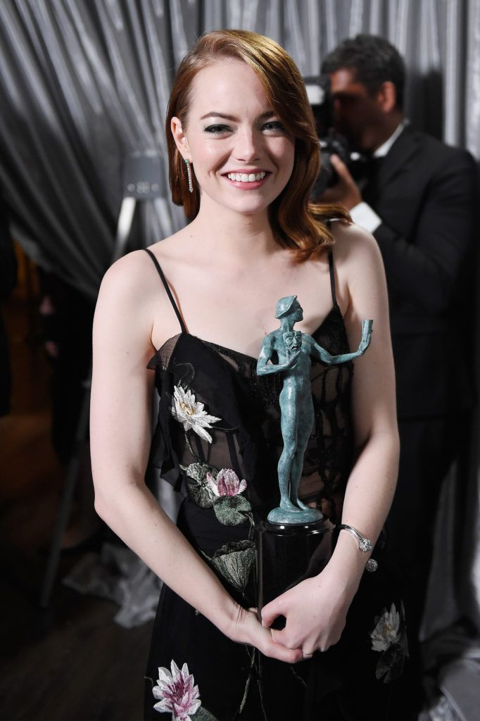 LOS ANGELES, CA - JANUARY 29:  Actor Emma Stone, winner of the Outstanding Female Actor in a Leading Role award for 'La La Land', poses in the press room during The 23rd Annual Screen Actors Guild Awards at The Shrine Auditorium on January 29, 2017 in Los Angeles, California. 26592_017  (Photo by Matt Winkelmeyer/Getty Images for TNT)