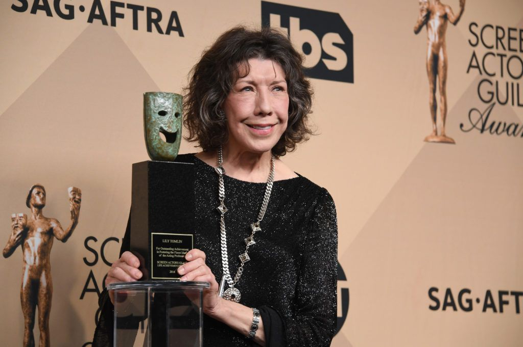 LOS ANGELES, CA - JANUARY 29:  Honoree Lily Tomlin, recipient of the SAG Life Achievement Award, poses in the press room during the 23rd Annual Screen Actors Guild Awards at The Shrine Expo Hall on January 29, 2017 in Los Angeles, California.  (Photo by Alberto E. Rodriguez/Getty Images)