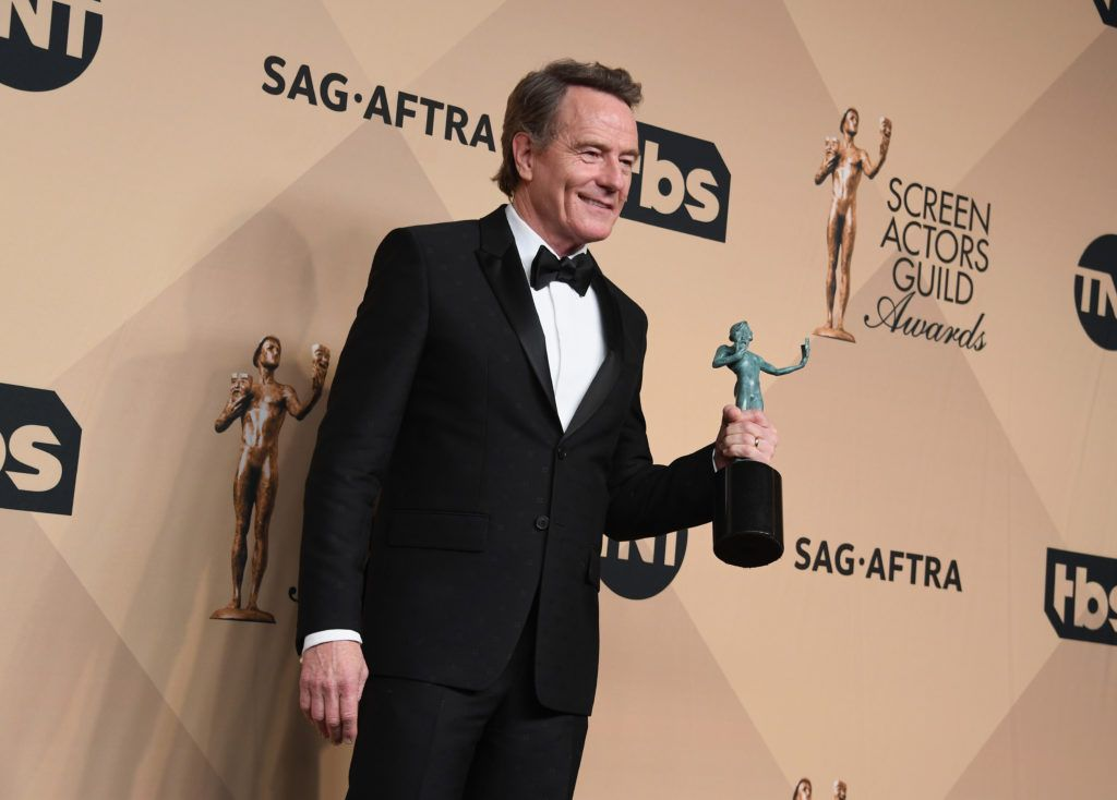 LOS ANGELES, CA - JANUARY 29:  Actor Bryan Cranston, winner of the Outstanding Performance by a Male Actor in a Miniseries or Television Movie award for 'All the Way,' poses in the press room during the 23rd Annual Screen Actors Guild Awards at The Shrine Expo Hall on January 29, 2017 in Los Angeles, California.  (Photo by Alberto E. Rodriguez/Getty Images)