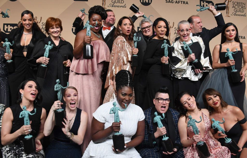 LOS ANGELES, CA - JANUARY 29:   'Orange Is the New Black cast members, winners of the Outstanding Performance by an Ensemble in a Comedy Series award, pose in the press room during the 23rd Annual Screen Actors Guild Awards at The Shrine Expo Hall on January 29, 2017 in Los Angeles, California.  (Photo by Alberto E. Rodriguez/Getty Images)