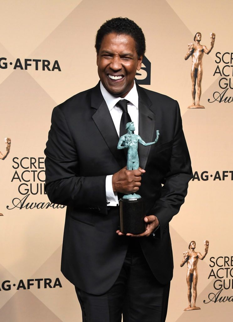 LOS ANGELES, CA - JANUARY 29:  Actor Denzel Washington, winner of the Outstanding Performance by a Male Actor in a Leading Role award for 'Fences,' poses in the press room during The 23rd Annual Screen Actors Guild Awards at The Shrine Auditorium on January 29, 2017 in Los Angeles, California. 26592_008  (Photo by Frazer Harrison/Getty Images)