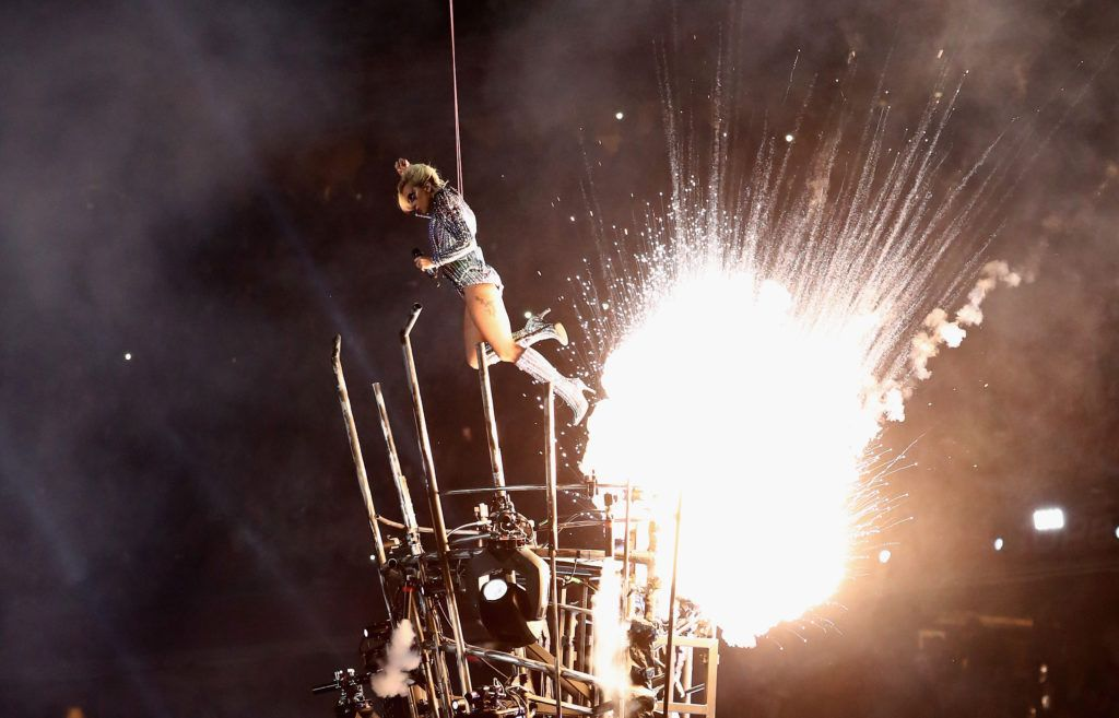 Lady Gaga performs during the Pepsi Zero Sugar Super Bowl 51 Halftime Show at NRG Stadium on February 5, 2017 in Houston, Texas.  (Photo by Elsa/Getty Images)
