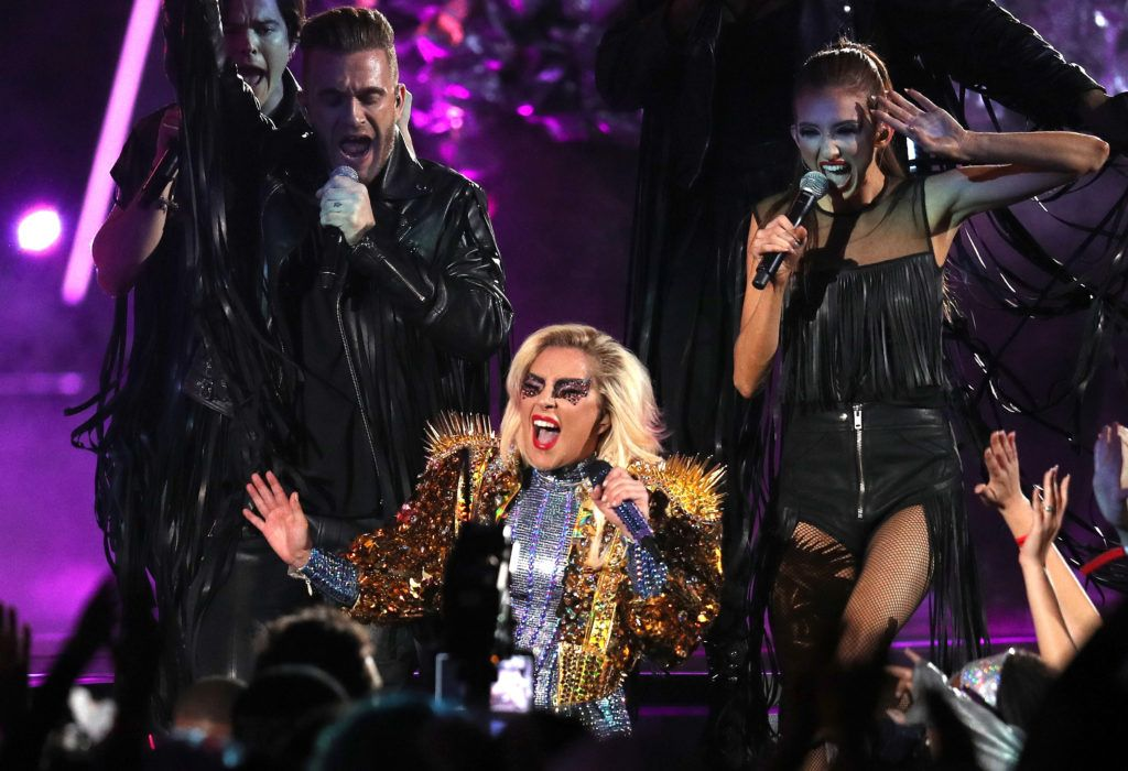 Lady Gaga performs during the Pepsi Zero Sugar Super Bowl 51 Halftime Show at NRG Stadium on February 5, 2017 in Houston, Texas.  (Photo by Patrick Smith/Getty Images)