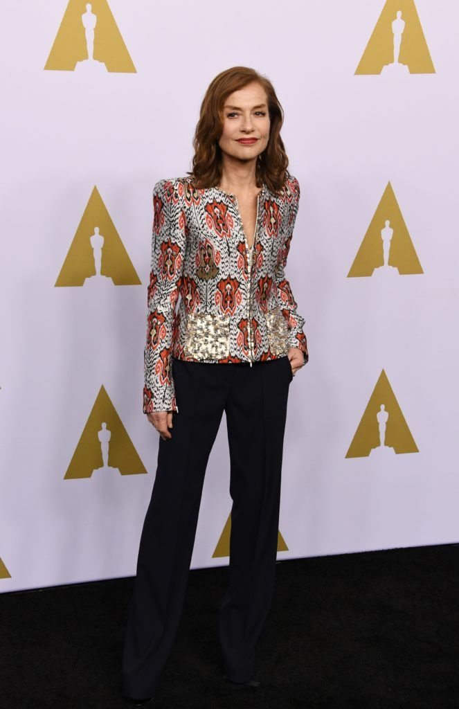 Actress Isabelle Huppert arrives for the 89th Annual Academy Awards Nominee Luncheon at The Beverly Hilton Hotel in Beverly Hills, California on February 6, 2017. / AFP / Mark RALSTON        (Photo MARK RALSTON/AFP/Getty Images)