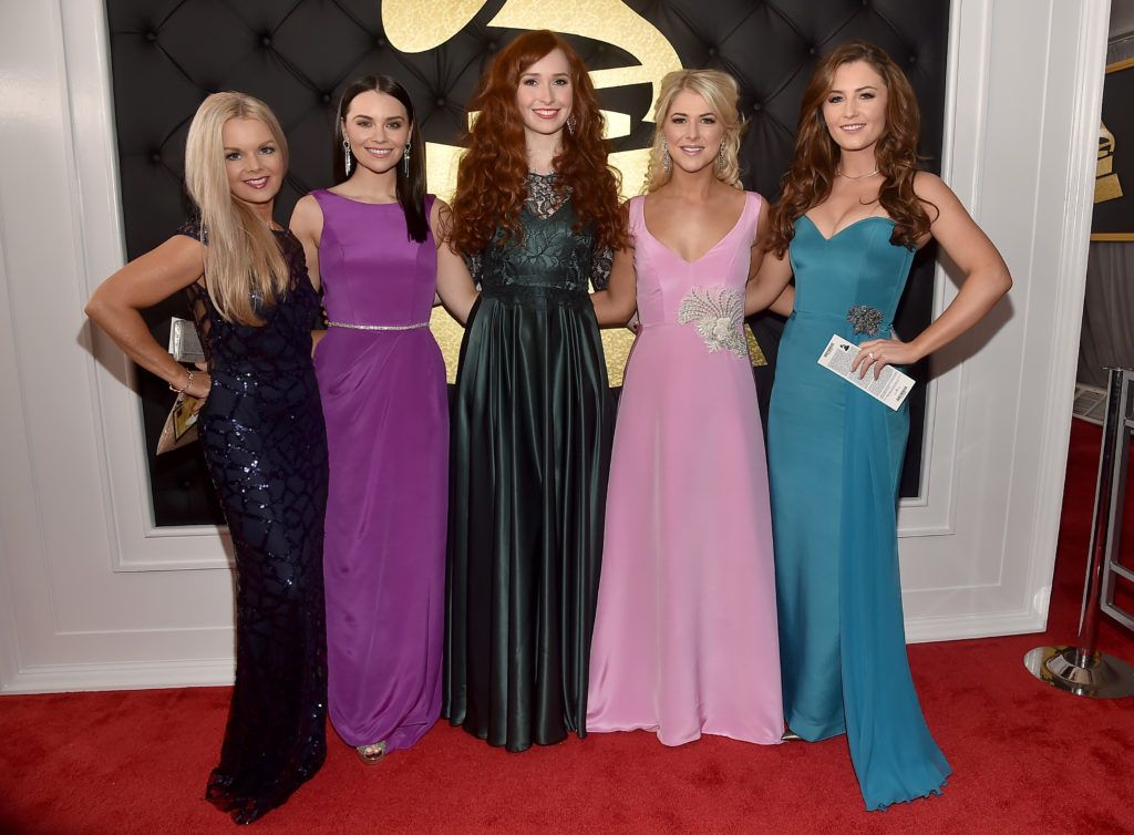 LOS ANGELES, CA - FEBRUARY 12:  (L-R) Maired Nesbitt, Mairead Carlin, Tara McNeill, Susan McFadden and Eabha McMahon of Celtic Woman attend The 59th GRAMMY Awards at STAPLES Center on February 12, 2017 in Los Angeles, California.  (Photo by Alberto E. Rodriguez/Getty Images for NARAS)