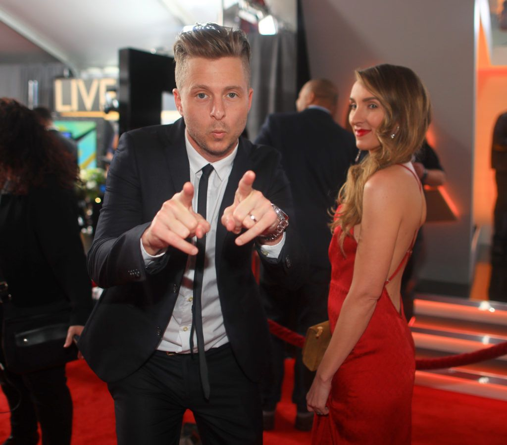 LOS ANGELES, CA - FEBRUARY 12: Musician/Producer Ryan Tedder of OneRepublic and wife, Genevieve Tedder attend The 59th GRAMMY Awards at STAPLES Center on February 12, 2017 in Los Angeles, California.  (Photo by Christopher Polk/Getty Images for NARAS)