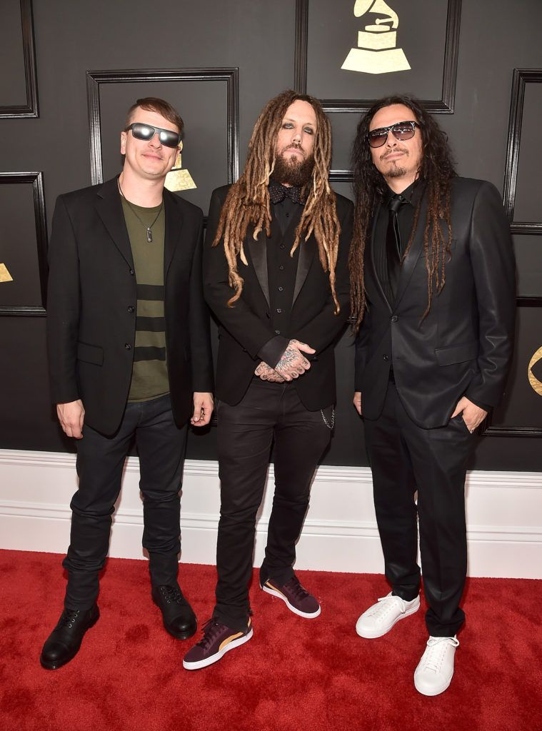 LOS ANGELES, CA - FEBRUARY 12: (L-R) Musicians  Ray Luzier, Brian Welch and James Shaffer of Korn attend The 59th GRAMMY Awards at STAPLES Center on February 12, 2017 in Los Angeles, California.  (Photo by Alberto E. Rodriguez/Getty Images for NARAS)