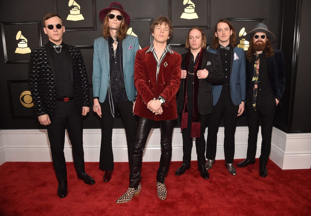 LOS ANGELES, CA - FEBRUARY 12:  (L-R) Brad Shultz, Daniel Tichenor, Matthew Shultz, Jared Champion, Nick Bockrath and Matthan Minster of Cage The Elephant attend The 59th GRAMMY Awards at STAPLES Center on February 12, 2017 in Los Angeles, California.  (Photo by Alberto E. Rodriguez/Getty Images for NARAS)