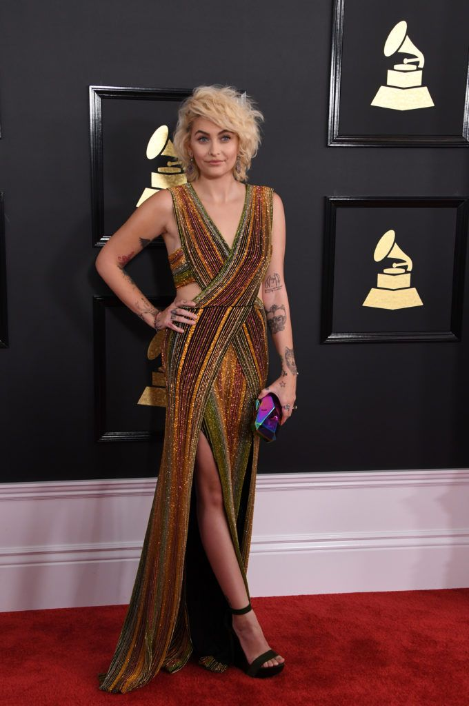 Paris Jackson arrives for the 59th Grammy Awards pre-telecast on February 12, 2017, in Los Angeles, California.        (Photo MARK RALSTON/AFP/Getty Images)