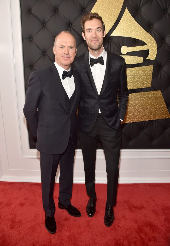LOS ANGELES, CA - FEBRUARY 12:  Actor/Dad Michael Keaton and Songwriter/Son Sean Douglas attend The 59th GRAMMY Awards at STAPLES Center on February 12, 2017 in Los Angeles, California.  (Photo by Alberto E. Rodriguez/Getty Images for NARAS)