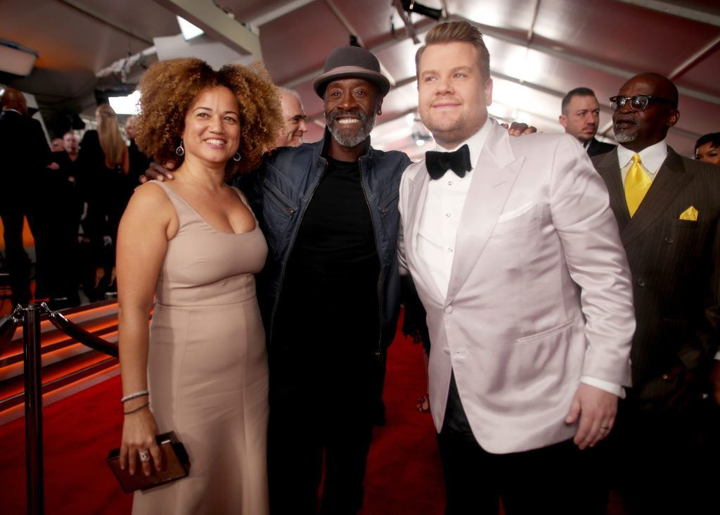 LOS ANGELES, CA - FEBRUARY 12: (L-R) Actors Bridgid Coulter and Don Cheadle and host James Corden attend The 59th GRAMMY Awards at STAPLES Center on February 12, 2017 in Los Angeles, California.  (Photo by Christopher Polk/Getty Images for NARAS)