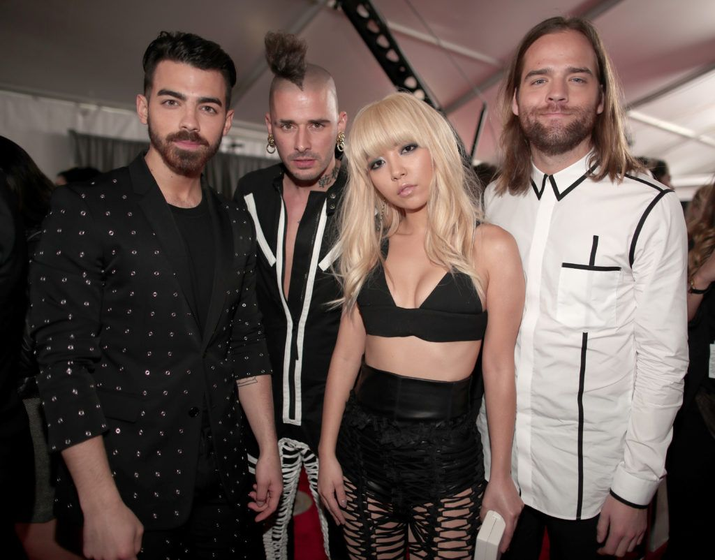 LOS ANGELES, CA - FEBRUARY 12: (L-R) Musicians Joe Jonas, Cole Whittle, JinJoo Lee and Jack Lawless of DNCE  attend The 59th GRAMMY Awards at STAPLES Center on February 12, 2017 in Los Angeles, California.  (Photo by Christopher Polk/Getty Images for NARAS)