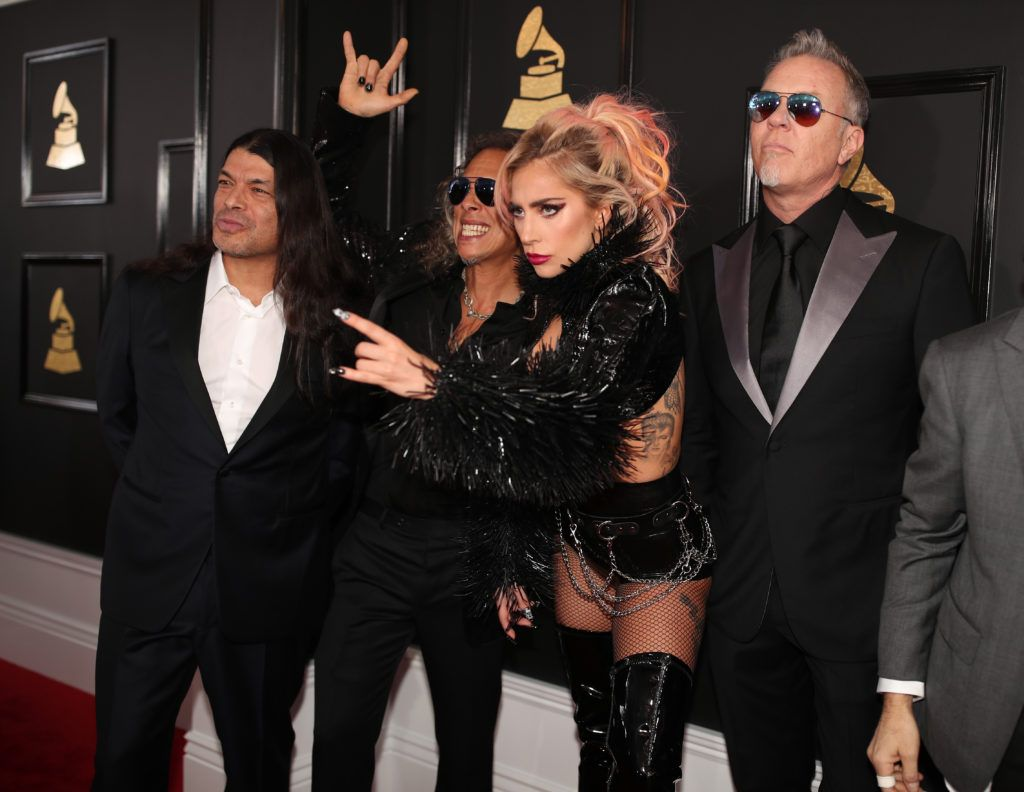 LOS ANGELES, CA - FEBRUARY 12:  (L-R) Musicians Robert Trujillo and Kirk Hammett of Metallica, Lady Gaga and James Hetfield of Metallica attend The 59th GRAMMY Awards at STAPLES Center on February 12, 2017 in Los Angeles, California.  (Photo by Christopher Polk/Getty Images for NARAS)