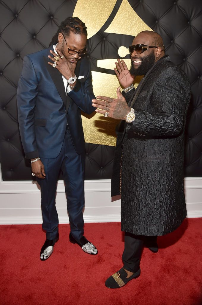 LOS ANGELES, CA - FEBRUARY 12:  Rappers 2 Chainz and Rick Ross attend The 59th GRAMMY Awards at STAPLES Center on February 12, 2017 in Los Angeles, California.  (Photo by Alberto E. Rodriguez/Getty Images for NARAS)