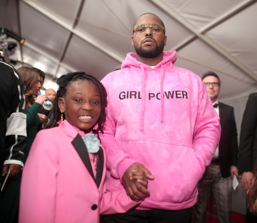 LOS ANGELES, CA - FEBRUARY 12: Rapper Schoolboy Q and daughter Joy Hanley  attend The 59th GRAMMY Awards at STAPLES Center on February 12, 2017 in Los Angeles, California.  (Photo by Christopher Polk/Getty Images for NARAS)