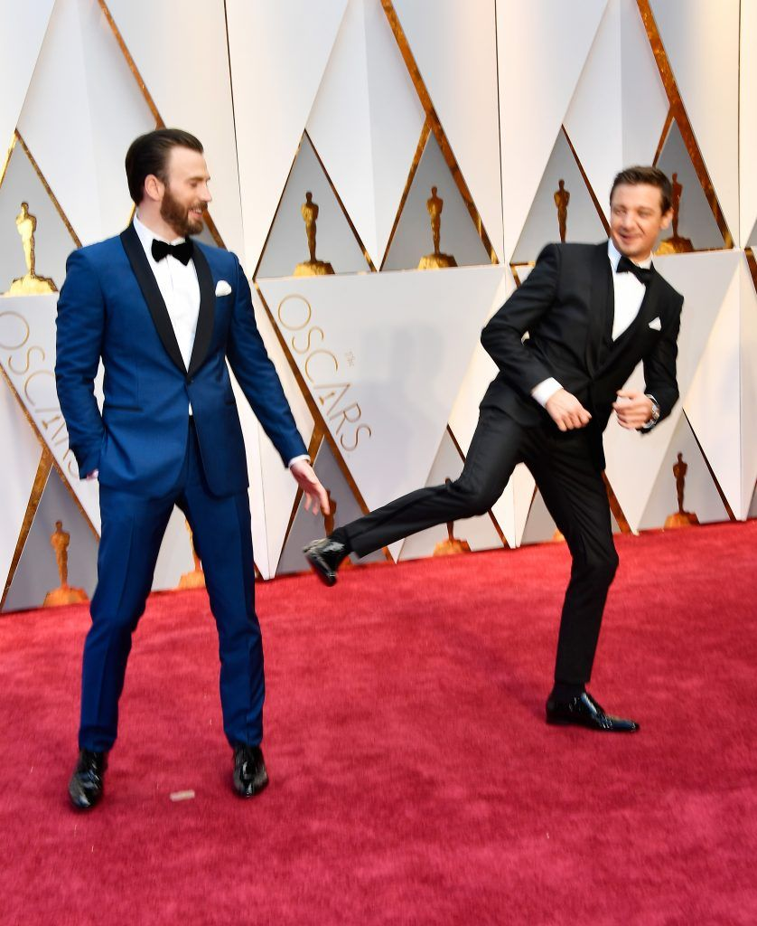 HOLLYWOOD, CA - FEBRUARY 26:  Actors Chris Evans (L) and Jeremy Renner attend the 89th Annual Academy Awards at Hollywood & Highland Center on February 26, 2017 in Hollywood, California.  (Photo by Frazer Harrison/Getty Images)