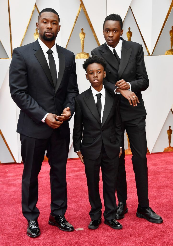 HOLLYWOOD, CA - FEBRUARY 26: (L-R) Actors Trevante Rhodes, Alex R. Hibbert and Ashton Sanders attend the 89th Annual Academy Awards at Hollywood & Highland Center on February 26, 2017 in Hollywood, California.  (Photo by Frazer Harrison/Getty Images)