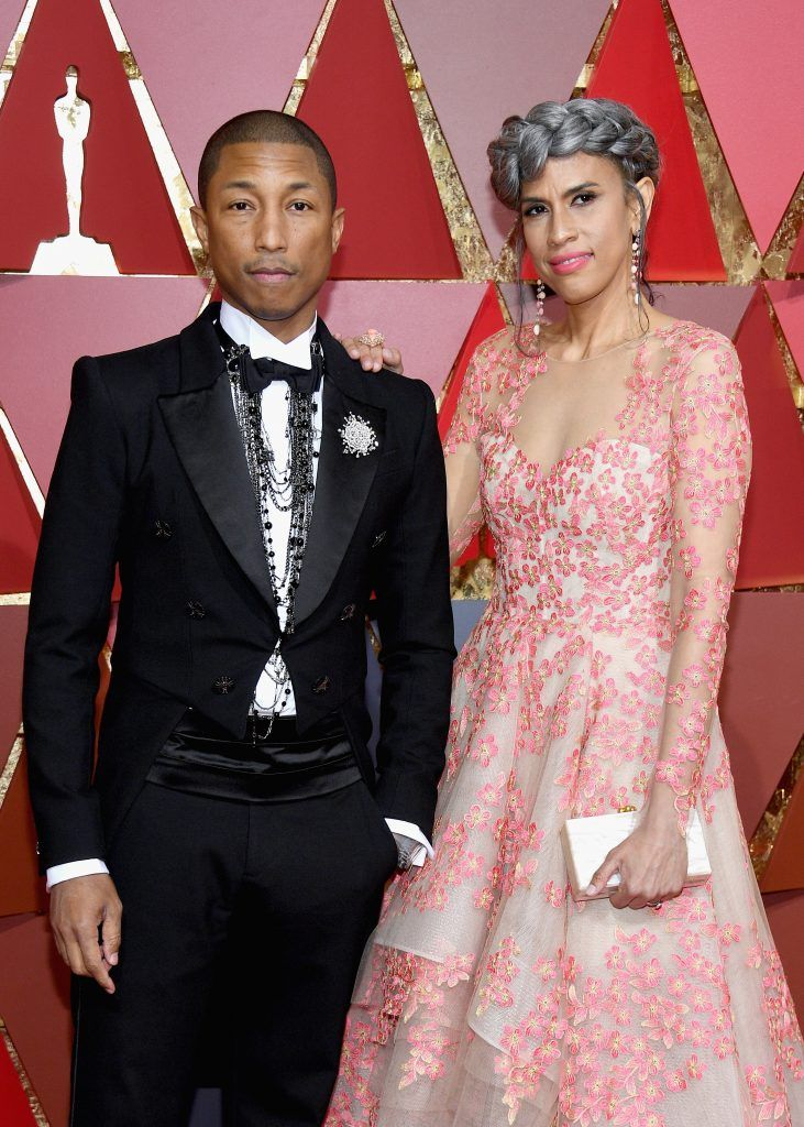 HOLLYWOOD, CA - FEBRUARY 26:  Musician Pharrell Williams and Mimi Valdes attends the 89th Annual Academy Awards at Hollywood & Highland Center on February 26, 2017 in Hollywood, California.  (Photo by Kevork Djansezian/Getty Images)